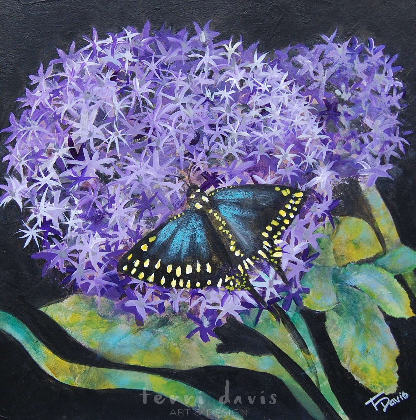 Ivans Garden 4 Purple Star Gazer Original Terri Davis Art Design